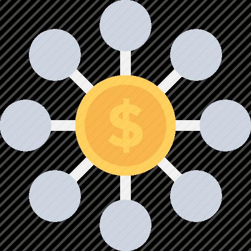 Hierarchy, dollar, financial, project, economy icon