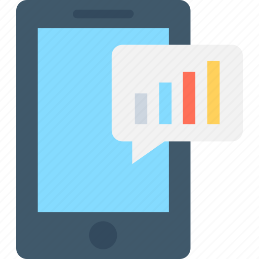 analytics, chat bubble, mobile, mobile graph, smartphone icon