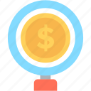 banking, dollar, finance, magnifier, search money icon