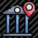 bank location, building, money, position, spot