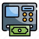 atm machine, bank, currency, money, withdraw