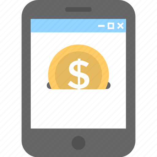 coin, dollar, mobile, mobile banking, payment icon