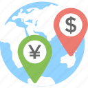 bank branches, bank location, globe, gps, location icon