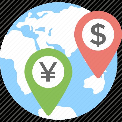 bank branches, bank location, globe, gps, location icon