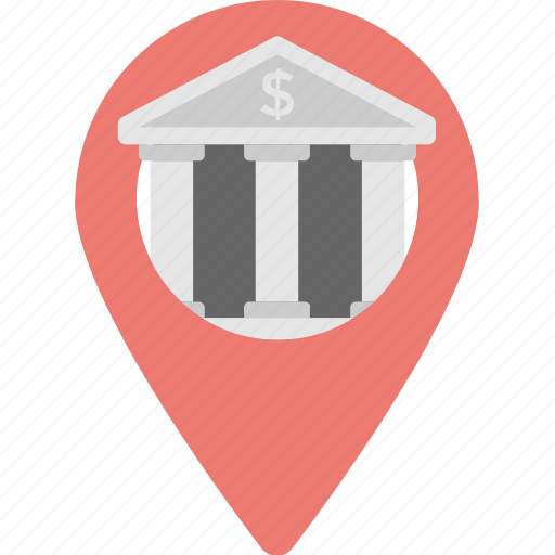 bank location, banks nearby, gps, location, map pin icon