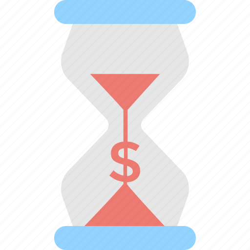 dollar, hourglass, sandglass, time is money, timer icon