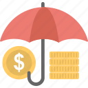 coins, insurance, protection, umbrella, wealth icon