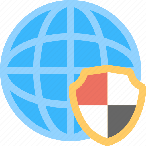 cyber security, globe, protection, security, shield icon