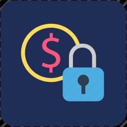 banking, finance, locked, locked money, safe icon
