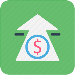 arrow, banking, dollar, finance icon
