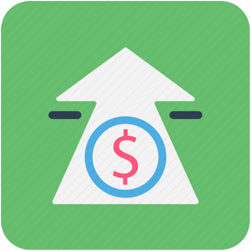 arrow, banking, dollar, finance icon