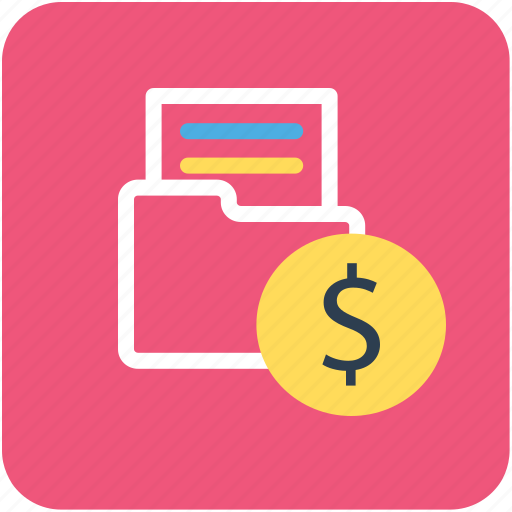 banking, file folder, finance, folder, money icon