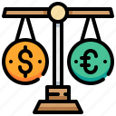balance, currency, euro, law, money, scale icon