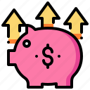 saving, money, pig, piggy, arrow, bank