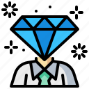 businessman, diamond, luxury, premium, service, success icon