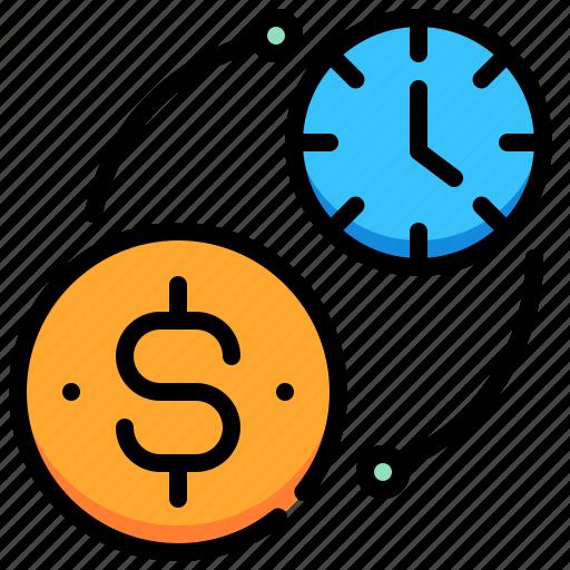clock, coin, dollar, exchange, money, time icon