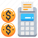 calculator, currency, loan, machine, money, slip icon
