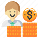 businessman, coin, currency, investor, man, money icon