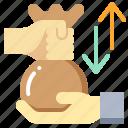 arrow, bag, give, hand, loan, money icon