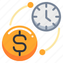 clock, coin, dollar, exchange, money, time icon