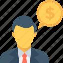 banker, chat bubble, dollar, financial advisor, investor