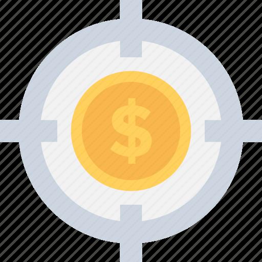 business target, dollar, focus, marketing, seo icon