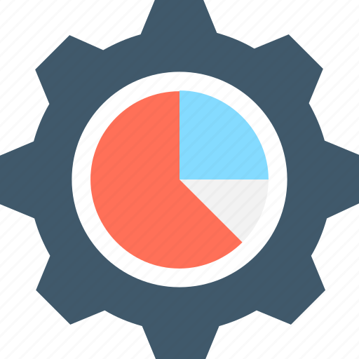 analytics, cog, pie chart, pie graph, statistics icon