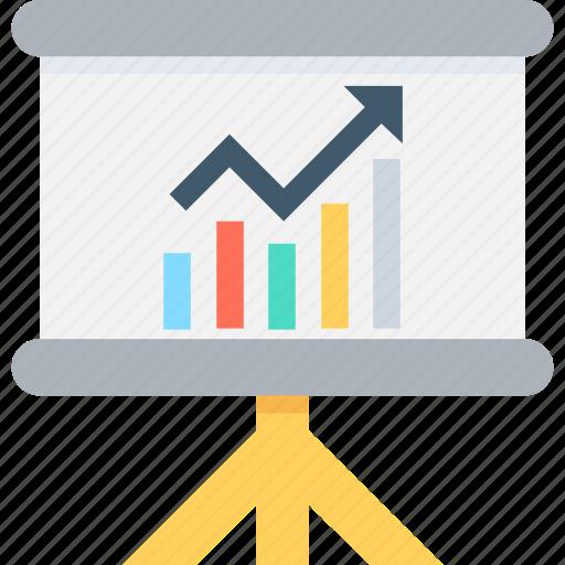 analytics, bar graph, graph, presentation, projection icon
