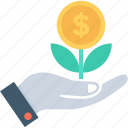business, growth, investment, money plant, plant icon
