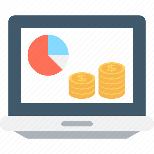 banking, coins, ecommerce, laptop, pie chart icon