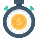 dollar, stopwatch, tax reminder, time is money, wait icon