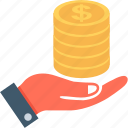 banknotes, give, hand, money, payment icon