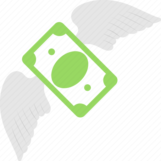 banknote, income, profit, raise, wings icon