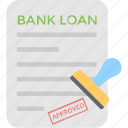 application, bank loan, credit, debt, stamp icon