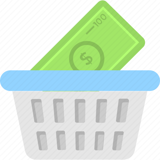 banknote, basket, buy, purchase, shopping icon