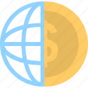 currency, global business, globe, money, trade icon