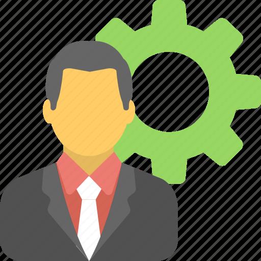 businessman, cog, leader, management, organization icon