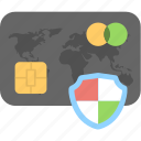 card security, credit card, debit card, security, shield icon