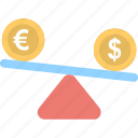 business, dollar, euro, seesaw, trade icon