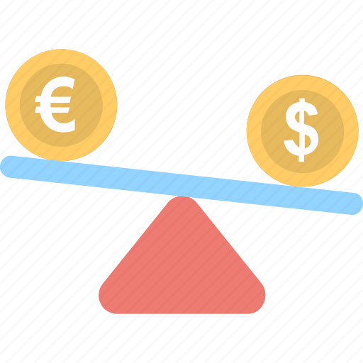 business, dollar, euro, seesaw, trade icon