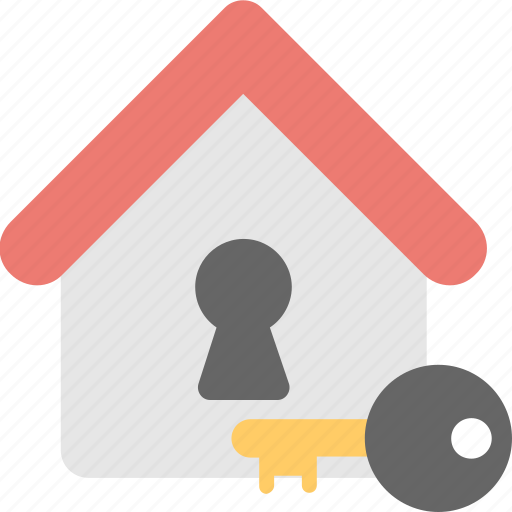 building, house, key, lock, security icon