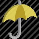 banking security, insurance, protection, sun protection, sun shade, umbrella, yellow umbrella icon