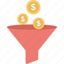 budget, dollar, filter, funnel, money exchange icon