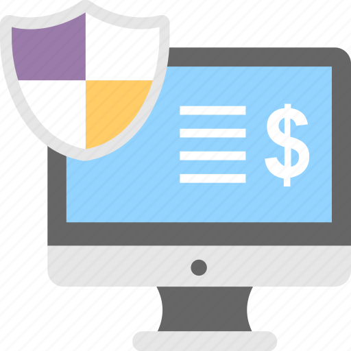 ecommerce, finance, monitor, online banking, safe banking icon