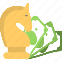 banknote, chess, investment, money, strategy icon