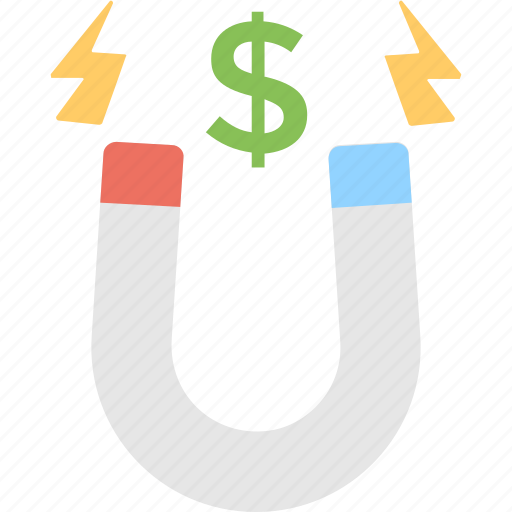 attract, dollar, magnet, marketing, money icon