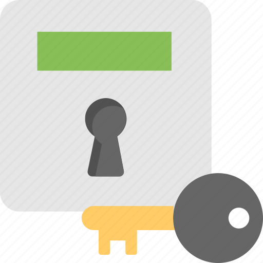 bank safe, key, locker, safe box, vault icon