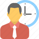 businessman, clock, employee, punctual, watch icon
