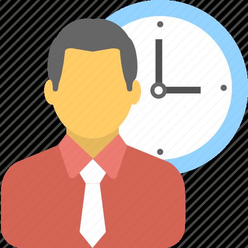 businessman, clock, employee, punctual, watch icon
