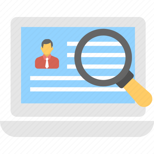 find, human resource, job hunt, magnifier, recruitment icon